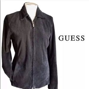 GUESS Black Suede Jacket W Red Satin Lining LARGE